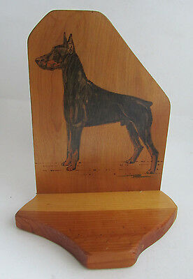 Vintage Folk Art Wood Pyrography Doberman Pinscher Dog Shelf Bookend