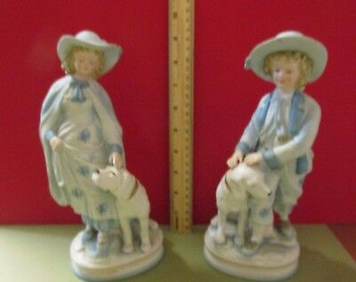 BEAUTIFUL VINTAGE ANDREA by SADEK VICTORIAN GIRL BOY DOG BLUE WHITE SET