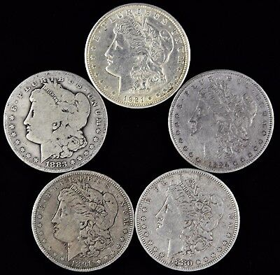 Lot of (5) Various Years Silver Morgan Dollars (a195.24)