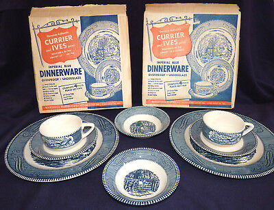 8 Currier and Ives Blue Old Grist Mill Dinner Plates Dessert Dish Cup Saucer