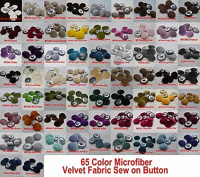 "#6 Piece 1"" inch/25mm microfiber velvet Cloth Wrap Jacket Sew On Metal Button"