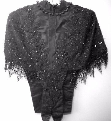 Stunning Antique Black Victorian Heavily Beaded Cape Frederick Loester Brooklyn