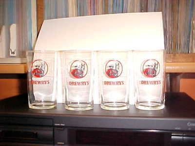 DREWRYS BEER GLASSES (4) 1960'S   ACL Perfect Condition BACK BAR South Bend IN