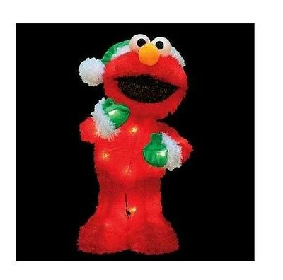 18 sesame street lighted elmo 3 d soft tinsel christmas yard decoration