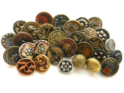 Variety Lot 30 Antique Victorian Small Fancy Metal Buttons Some Pictorial