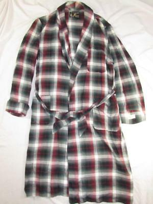 Vtg NOS 50s 60s Penney's Towncraft Shadow Plaid Rayon Robe Bathrobe Smoking Belt