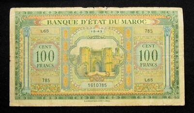 Morocco 1943 100 Francs Note- VG/Fine - Pick#27a PG.854 - WW2 Issue