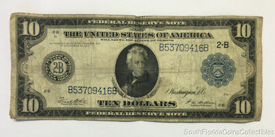 1914 $10 Dollar New York Federal Reserve Large Size Note Very Fine B53709416B