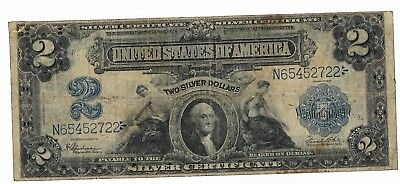 1899 $2 Small Washington Port Hole Large Silver Certificate
