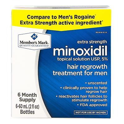 Minoxidil 5% Solution Extra Strength Men Hair Regrowth Solution 6 Month Supply