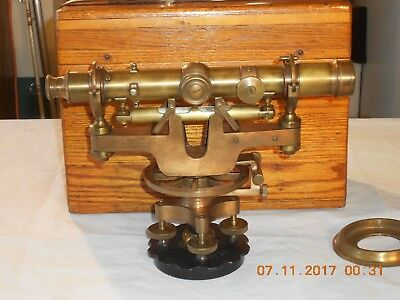 Old Tool. Patented 1917 Brass Made In Usa David White Transit With Oak Box