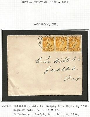 Canada Small Queen 1c Ottawa print strip of 3 on 1888 Woodstock to Guelph cover