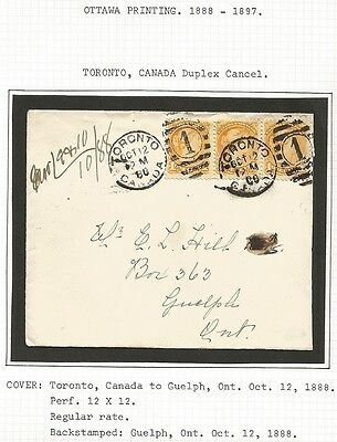 Canada Small Queen 1c Ottawa print strip of 3 on 1888 Toronto to Guelph cover