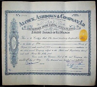 India 1948 3a yellow impressed revenue stamp on Alcock Asdown & Co share certifi