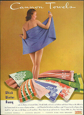 Whisk Winter Away Cannon Towels ad 1939 gal bather wrapping up