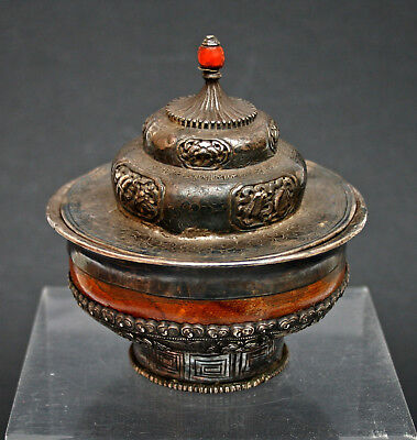 Antique Tea Bowl & Cover Tibetan Mongolian Silver Burlwood Chinese Coral