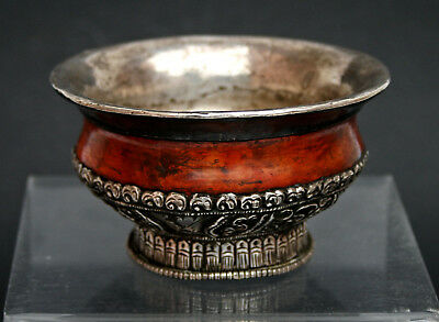 Antique Tea Bowl Tibetan Mongolian Silver Burlwood Chinese