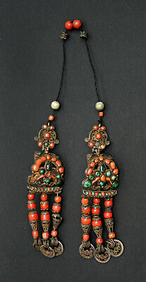 Antique Tibetan Mongolian  Chinese Coral Malachite Earrings Headdress Pendants