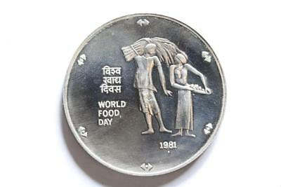 FAO / F.A.O. India 100 Rupees 1981  - uncirculated - silver