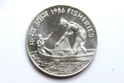 FAO / F.A.O. India 100 Rupees 1986  - uncirculated - silver
