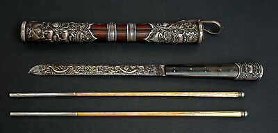 Exceptional Antique Eating Set Tibetan Mongolian Silver Hardwood Chinese