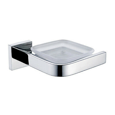 Mirror Polishing Wall Mount Glass Soap Dish with Holder Bathroom Accessory
