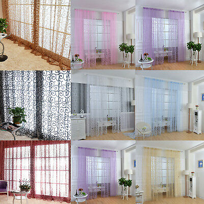 Mordern Door Window Curtain Floral Tulle Voile Drape Panel Sheer Scarf Valances