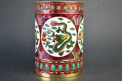 Fine Collectible China Old Cloisonne Carve Dragon Colored Drawing Red Brush Pot