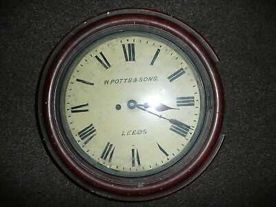 old  ANTIQUE  fusee wall clock chime  w potts & sons leeds