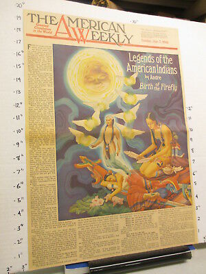 newspaper ad 1940 American Weekly INDIAN birth of the firefly COVER ONLY