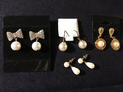 Vintage Lot of 4 Pair of Faux Pearl Pierced Earrings - Dangles, Rhinestones