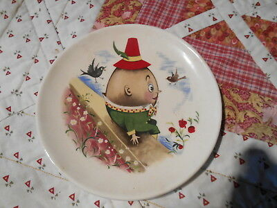 Brixham pottery Ltd Devon nursery rhymes vintage children plate Humpty Dumpty