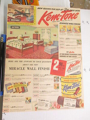 newspaper ad 1940s KEM-TONE house interior paint Sherwin Williams Am Weekly BED
