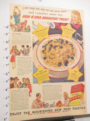 newspaper ad 1940s POST TOASTIES cereal box baseball game WWII American Weekly