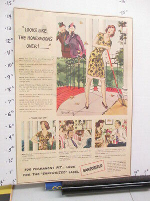newspaper ad 1940s SANFORIZED clothing WWII American Weekly Bride Sweeping