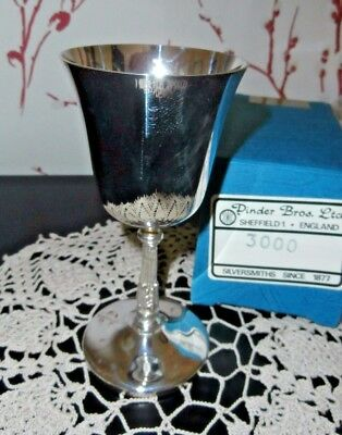 VINTAGE SHEFFIELD SILVER PLATED WINE GOBLET with BOX ~ PINDER BROS. SHEFFIELD