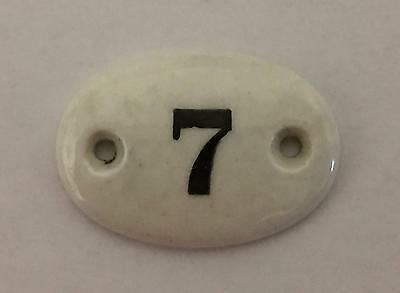 Vintage Small French Porcelain Door House Locker Number 7, Architectural Chic