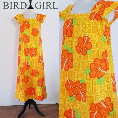 Hawaiian 1970S Vintage Yellow Tropical Floral Print Long Sun Dress 10-12