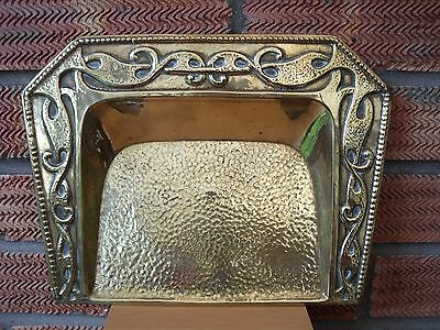 Arts & Crafts Brass Crumb Tray lightly hammered with decorative Border.