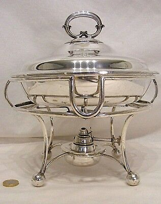 Antique Victorian Silver Plated Tureen + Spirit Burner Stand - London 1893