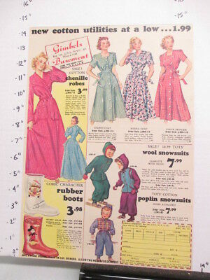 newspaper ad 1948 NYSN Gimbel's Mickey Mouse boot, cotton chenille dress robe