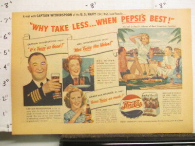 newspaper ad 1949 PEPSI COLA soda Capt Maurice Witherspoon US Navy chaplain