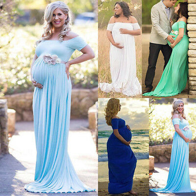 Pregnant Women Long Maxi Gown Off Shoulder Maternity Dress Photography Prop