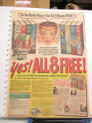 newspaper ad 1951 Book League club Frank Yerby Agatha Young WILDROOT hair tonic