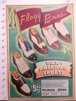 newspaper ad NYSN 1942 WWII Flagg Bros Pan American sports wing-tip men's shoe