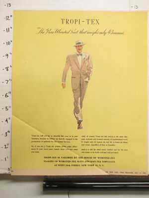newspaper ad NYT 1945 TROPI-TEX House of Worsted-Tex suit topcoat men's clothing