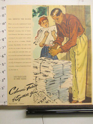 newspaper ad NYT 1945 WWII father son paper drive CELANESE synthetic yarn