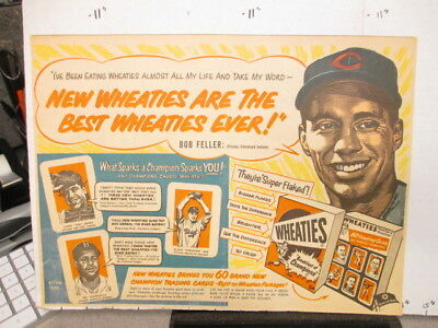 newspaper ad premium 1952 Wheaties cereal baseball card Bob Feller R Campanella