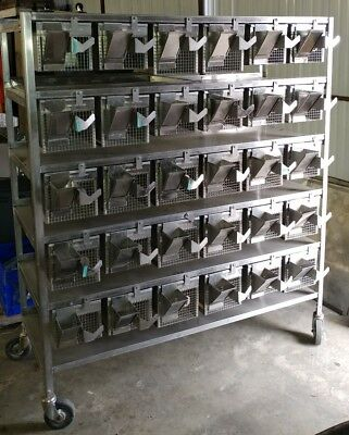 Large 60 Box Stainless Steel Cage Rodent Rat Laboratory Rolling Cart Shore-Line