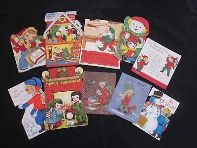 Lot of 10 Vintage 1950s  Mid Century Childrens Christmas Cards Signed